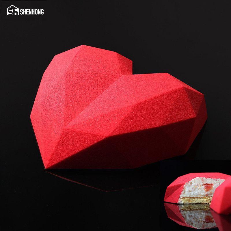 Grosshandel Grosshandel Diamant Herz 3d Kuchen Formen Silikonform