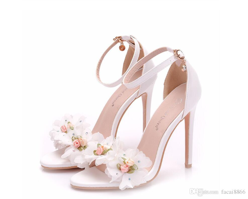 15085dd68d7e1 Sweet White Flower Sexy Dress Wedding Shoes Women Lacing Ankle Strap Peep  Toe High Heels Sandals Floral Shoes Shoes Uk Flat Sandals From Facai8866