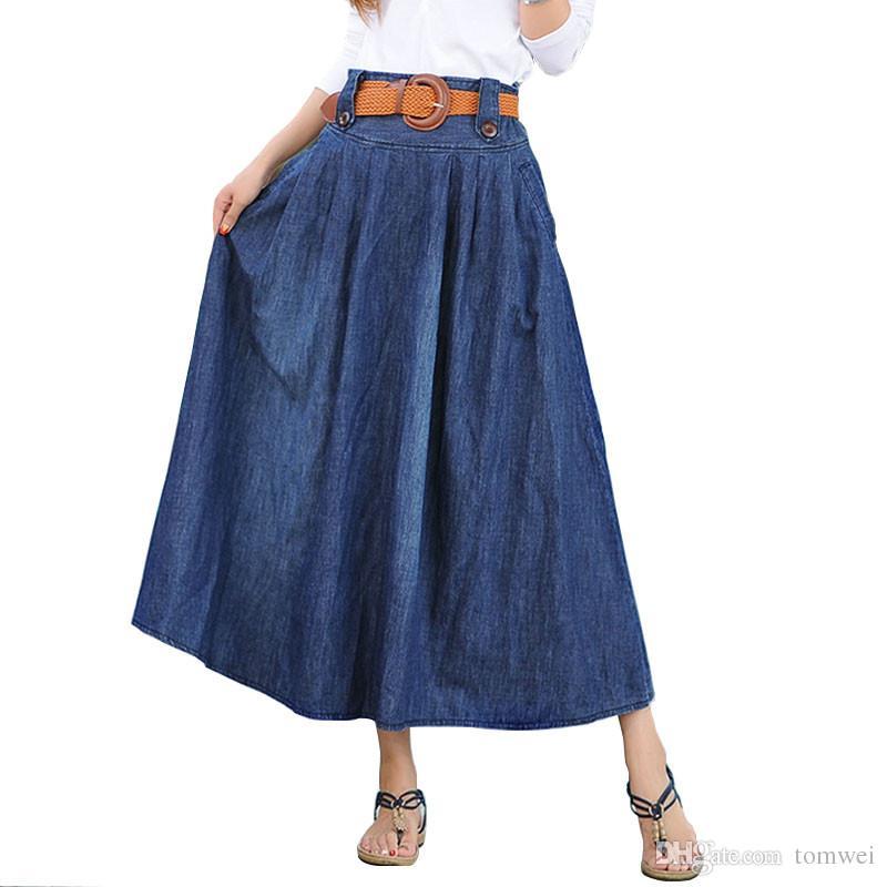 0df442c077 Compre Pantalones Vaqueros De Las Mujeres Falda Faldas Largas Denim  Primavera Verano Maxi Faldas Casual Vintage Button Belt 2018 Nueva Moda S  6XL Marca A ...