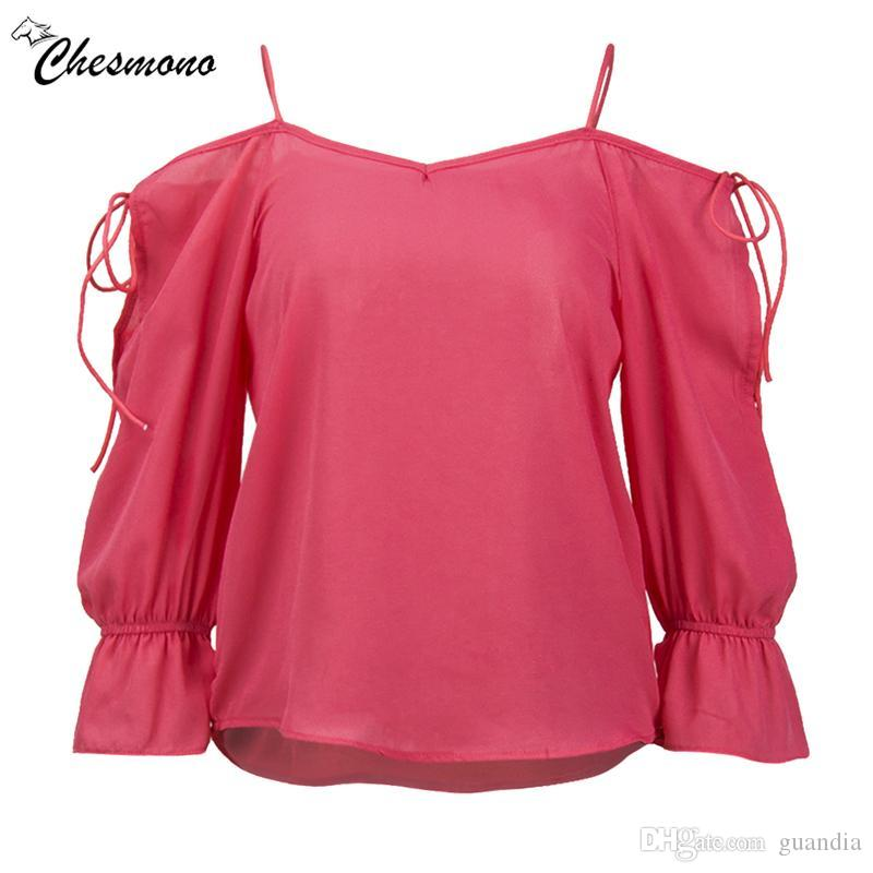 de26f8c54ff76 2019 Solid Chiffon Blouse Women Tops Flare Sleeve Strap Off Shoulder Shirt  Women Ladies Office Blouse Korean Blusas Chemise Femme Top From Guandia