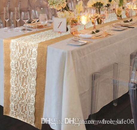 Table Runner Burlap Lace Wedding Decoration Embroidered Floral Table Cover  Dustproof Runners Home Textile High Quality Wholesale Table Linen Hire Table  ...