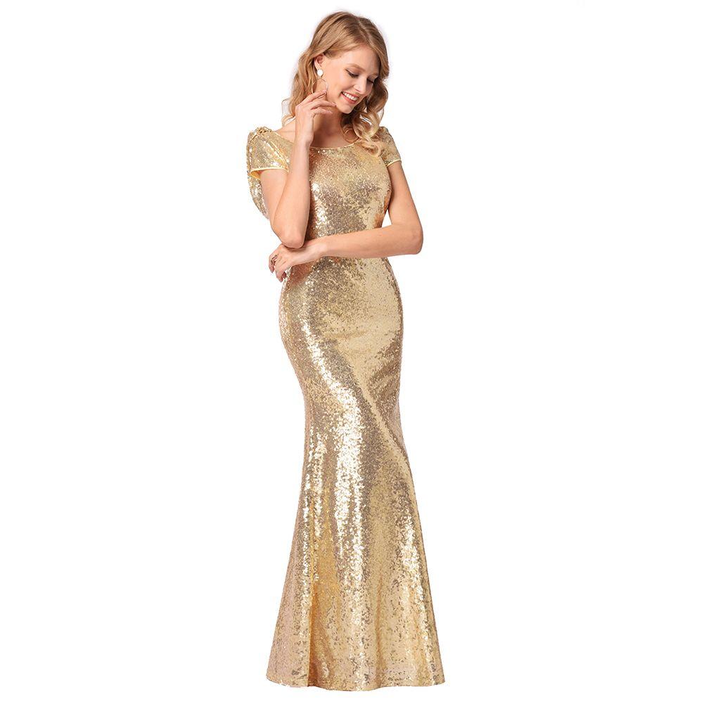 2018 Women Sequins Maxi Party Dress Short Sleeve Backless Gold ...
