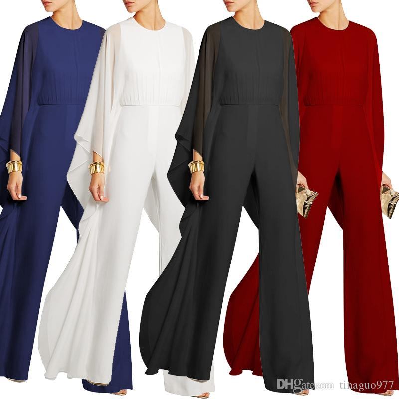Cocktail Evening Women Jumpsuits For Wedding Chiffon Flared Sleeve