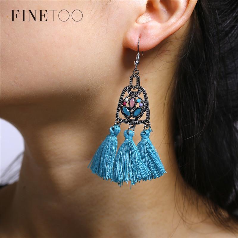 925 Argent Vintage Turquoise Dangle oreille Crochet Boho Hoop Femmes Bijoux Boucles d/'oreilles