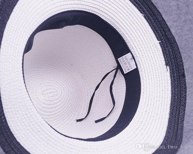 Women's Jazz Hats Middle Brim Sun Hats with Metal Letter M Fedora Straw Hat for Female Black and White Patchwork Hats QF