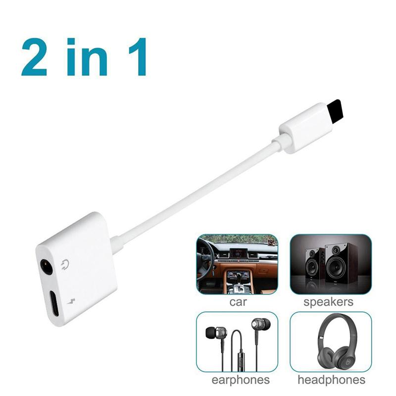 reputable site 7e8f1 280aa 2 in 1 Dual Audio Converter 3.5mm Plus Splitter Earphone Aux Cable Adapter  for iPhone X 7 8 Plus XS MAX XR Charging Cable