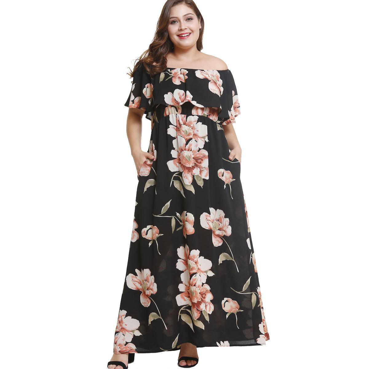 d3793e8b5e 2018 Women Boho Floral Print Maxi Dresses Pocket Off Shoulder Slash Neck  Short Sleeve Ruffle Casual Beach Ankle Length Long A Line Dress Casual  Purple ...