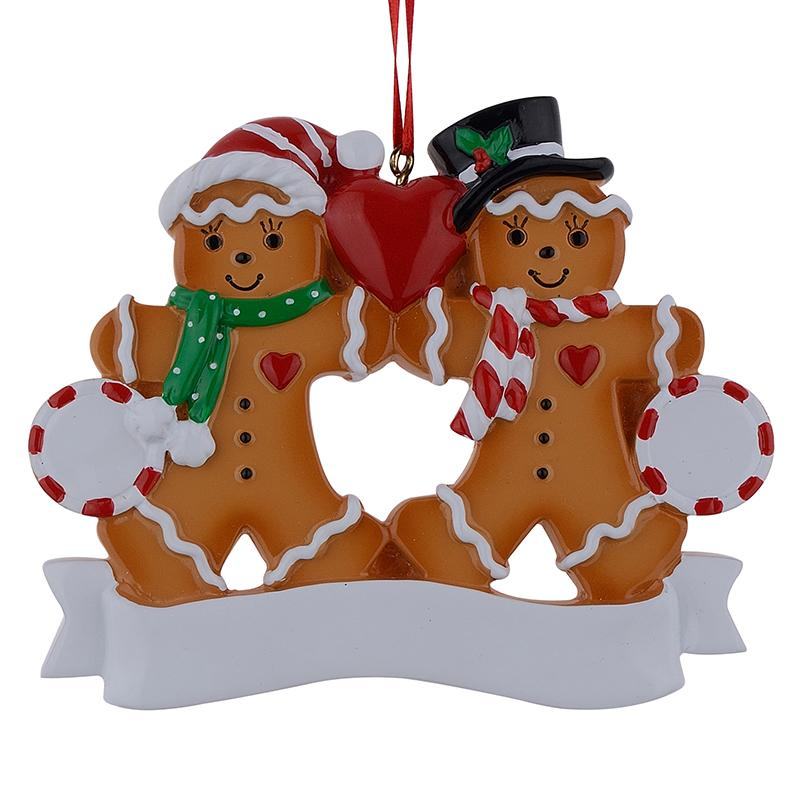 Resin Christmas Ornaments.Wholesale Gingerbread Family Of 2 Resin Christmas Ornaments With Red Apple As Personalized Gifts For Holiday Party Home Decor