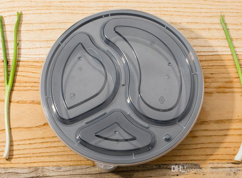 1000 мл Круглые Еда Приготовления Контейнеров Набор Microwavable 3 Отдел Bento Box Хранения Продуктов Обеда Коробки Крышки Чехол ZA5997