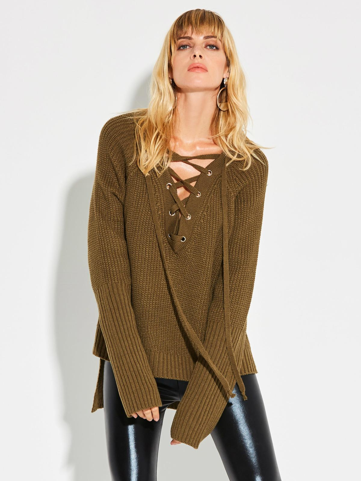 b848c0d51 2019 Women Army Green Sweater Knitwear Lace Up Sexy 2017 Autumn Casual  Loose Knitted Sweater V Neck Winter Oversize Sweater From Qinfeng10