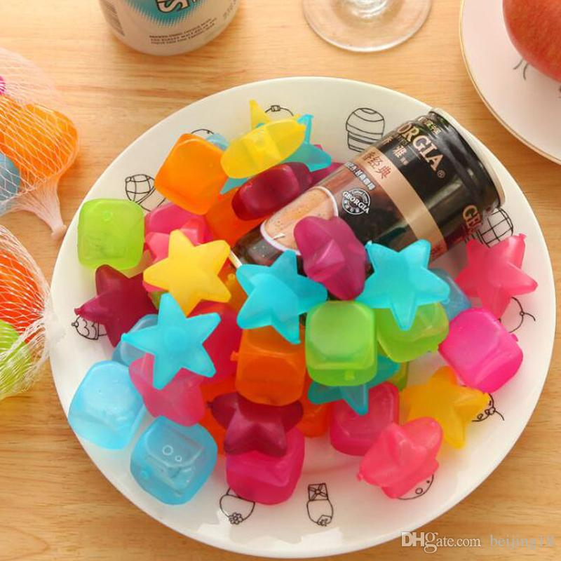 2018 New /pack Ice Cubes Plastic Fruit Shaped Reusable Plastic Multicolour Cool Cold Drinkware Bar Barbecue Party Bar Tools CCA9461