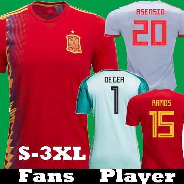 aed7ec31cec32 Player Version 2018 España Asensio ISCO RAMOS MORATA Camisetas De Fútbol  2019 Espana Camisetas PIQUE INIESTA DIEGO COSTA Portero De GER Camisetas  Por ...