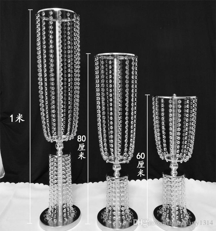 2018 luxo alto acrílico adereços de chumbo de estrada de casamento de cristal adereços de mesa de casamento evento decoração do partido corredor do casamento passarela vaso de flor