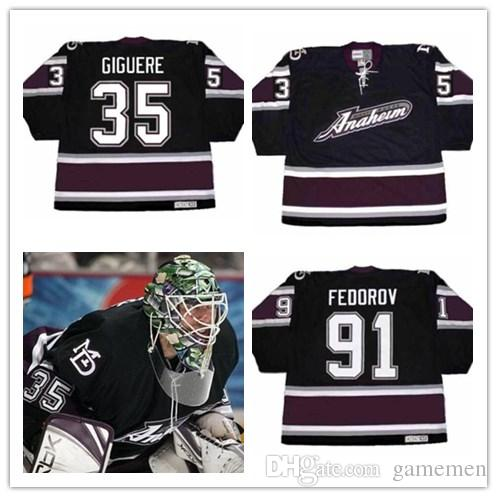 promo code 6b300 d50b7 Mens #35 GIGUERE 91 SERGEI FEDOROV 13 TEEMU SELANNE Anaheim Mighty Ducks  2005 CCM Vintage Alternate Jersey