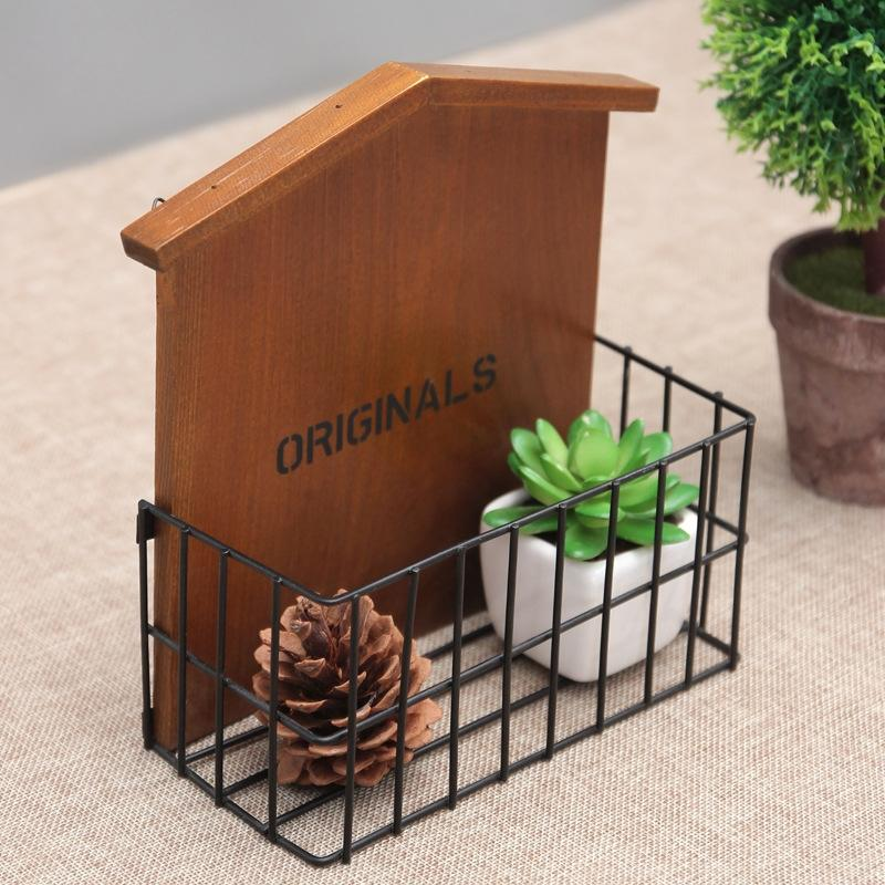 2018 Retro Wooden Wall Hanging Pot Container Mobile Phone Storage Basket Desktop Organizer Balcony Put Simulation Flower Display Rack From Starch