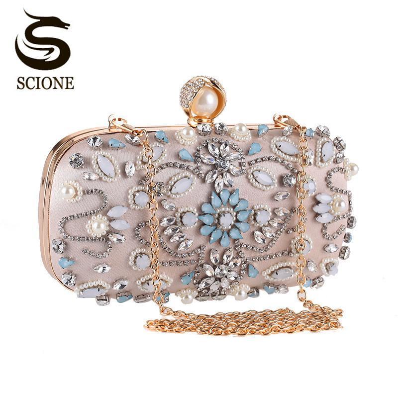 b49c687261 Luxury Clutch Purse Women Crystal Diamond Evening Bags White Pearl Beaded  Shoulder Party Bag Bridal Wedding Clutches Handbags Y18102603 Designer  Handbags On ...
