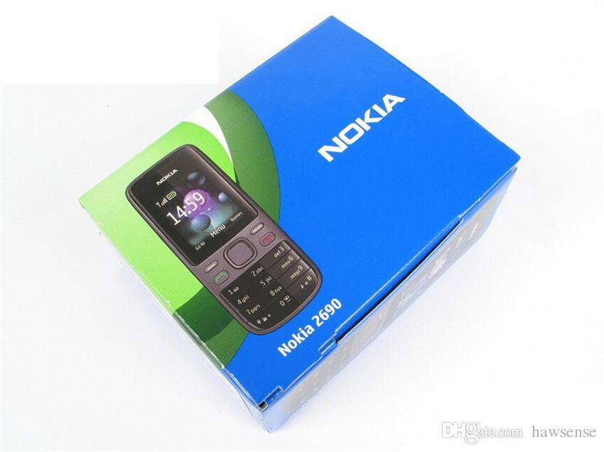 Refurbished Original Nokia 2690 GSM Unlocked Bar Mobile Phone 1.8 inch Bluetooth Camera Video FM Cheap Phone Free DHL