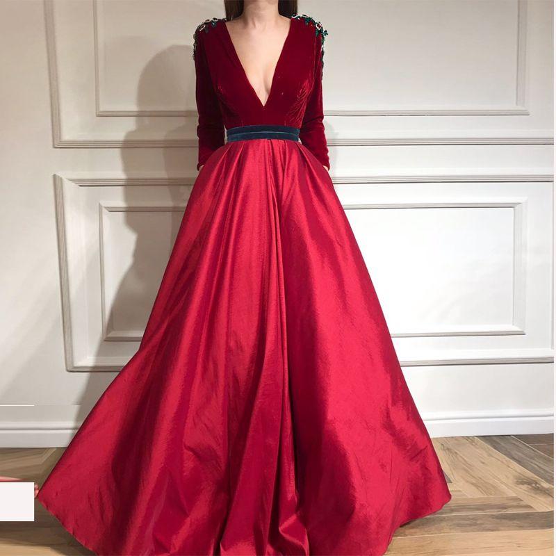 07269299e5 Elegant Deep V Neck Red Velvet Top Prom Dresses Long Sleeve With Beautiful  Crystal Floor Length Zipper Back A Line Evening Dress Corset Prom Dresses  Formal ...