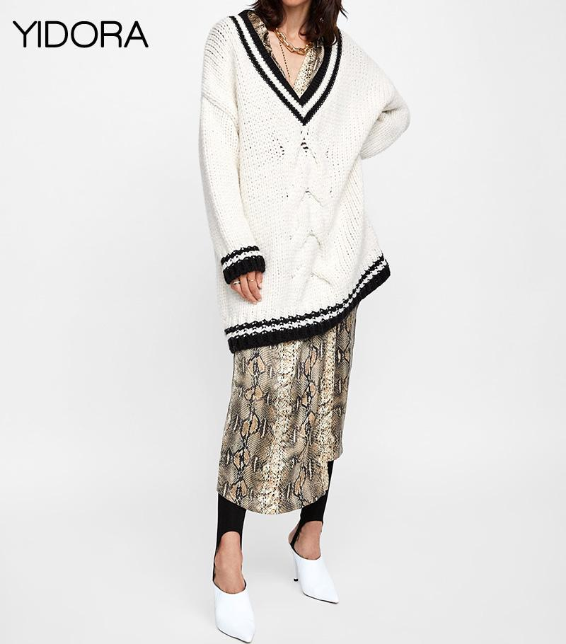 d4b5b69caa 2019 F W 2018 Women White V Neck Loose Fitting Knit Pullover Sweater  Features Twisted Cable   Contrast Striped Ribbed Neckline   Cuff From Boniee