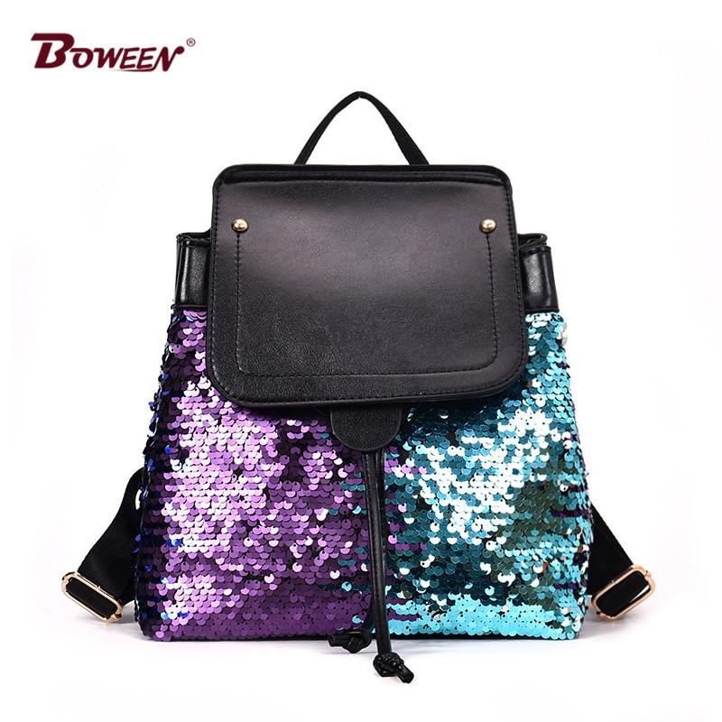 0d609ddacaa9 European Fashion Women Backpack For Girl Teenagers Sequin High Quality Pu  Leather Back Pack Female Bagpack 2018 Backpacks For Men Jansport Big  Student ...