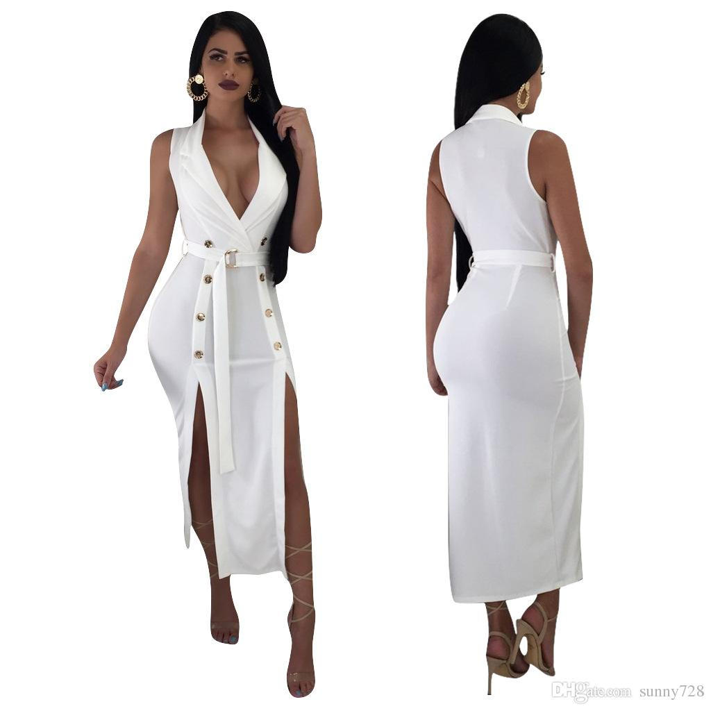 180b420c214c 2019 White Elegant Evening Dresses With Sash Sexy Deep V Neck Sleeveless  Side Split Buttons Fashion Sheath Party Dress Mid Calf 2019 Best Selling  From ...