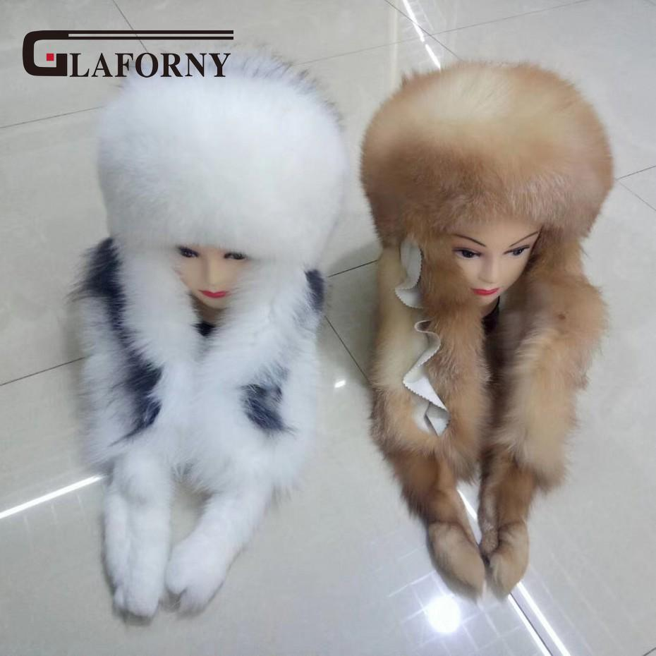 c34af31b646 Glaforny 2018 New Design Fox Fur Hats with Rex Rabbit Fur Tops Scarf ...