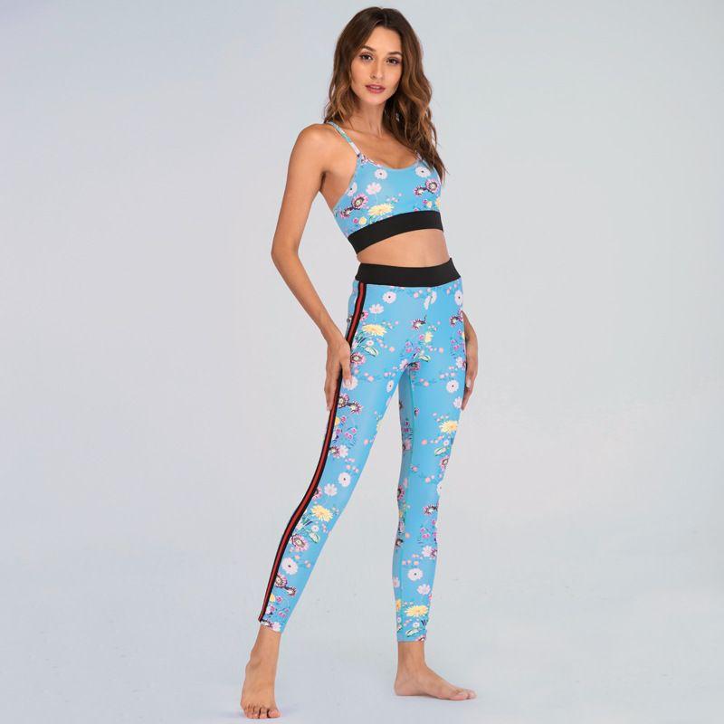 194fd54836b8b Compre GXQIL Lindo Conjunto De Yoga Mujeres Legging Sujetador Traje  Deportivo 2018 Gimnasio Mujer Ropa Deportiva Marca Dry Fit Ropa De Fitness  Chándal ...