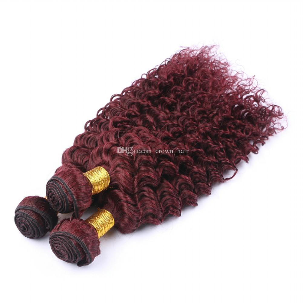 부르고뉴 컬러 브라질 인간의 머리카락 앞면 13x4 딥 웨이브 99j와 함께 묶어 펴기 귀에 귀 정면 4 개 로트