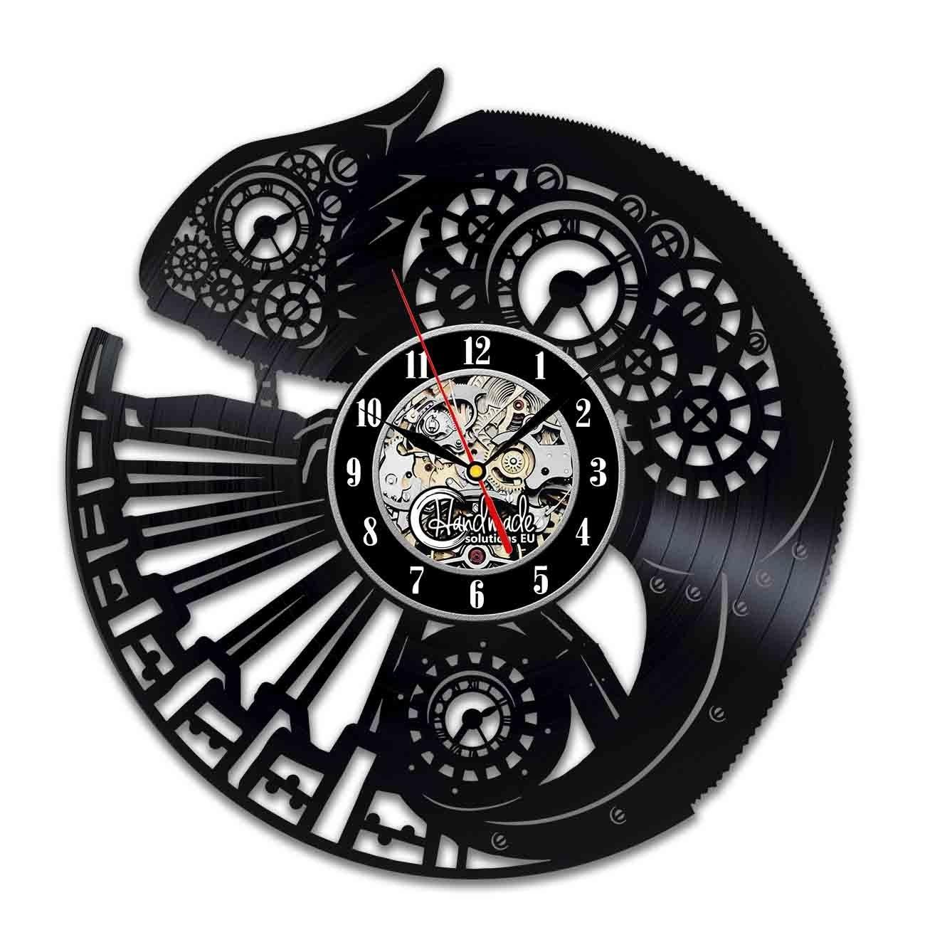 Diy Gift For Steampunk Chameleon Vinyl Wall Clock Ornament Gifts For