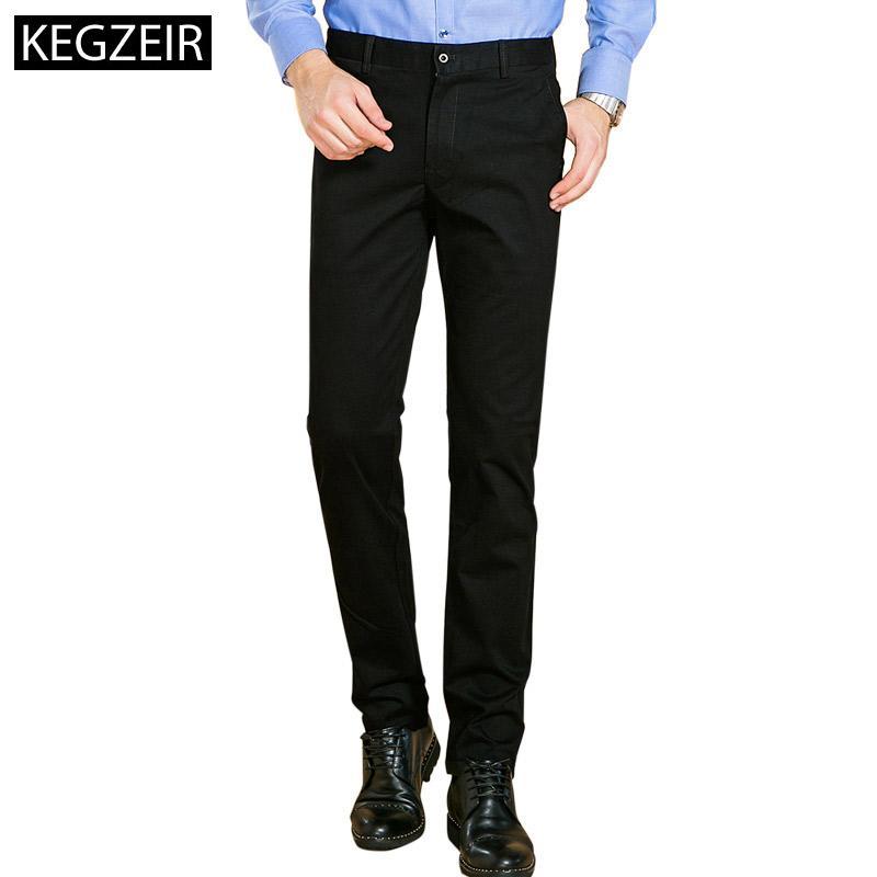 049b0639d934 KEGZEIR nuevo diseño para hombre pantalones casuales flaco marca primavera  invierno para hombre pantalones slim fit elástico pantalones clásicos ...