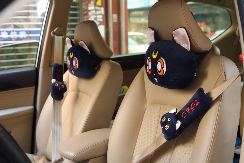 2019 29cm Cartoon Sailor Moon Luna Cat Plush Cotton Car Safety Belt
