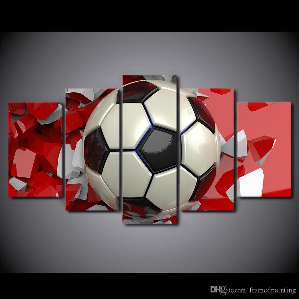 HD Impreso 5 Piezas de Arte de la Lona de Pintura de Fútbol Imágenes de Pared para la Sala de Deporte Moderno Cartel Envío Gratis