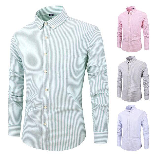bfb7a2093a6 2019 2018 Men Business Shirts New Fashion Brand Clothing Mens Long ...