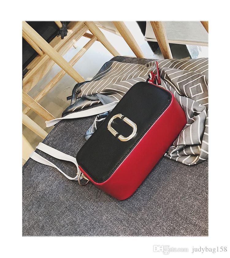 New women's bag fashion trend mini camera small square bag wide shoulder strap contrast color shoulder Messenger bag