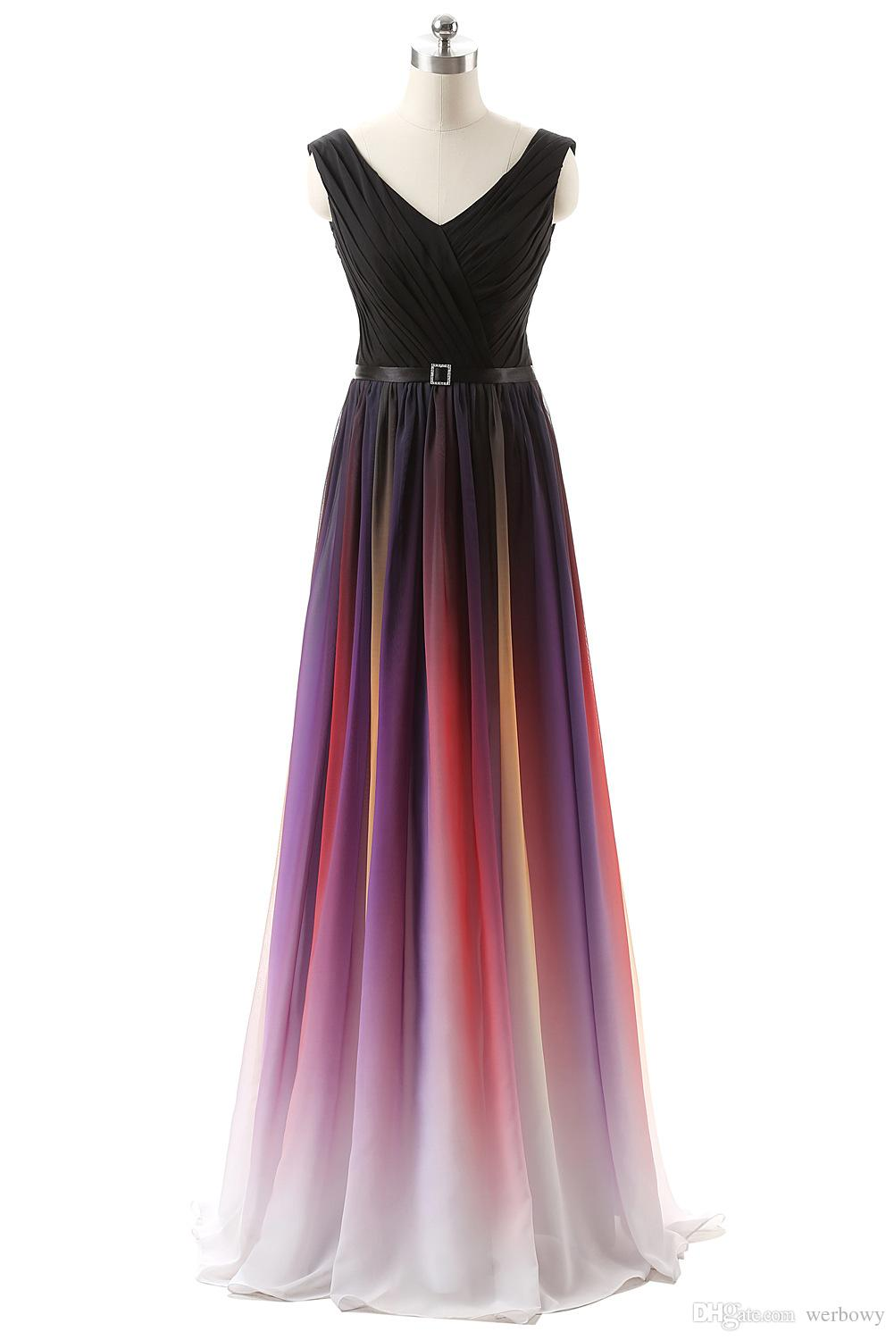 Cheap 2019 Elie Saab Evening Prom Dresses Belt Backless Gradient Color Black Chiffon Formal Occasion Party Gowns Real Photos Plus Size Sexy