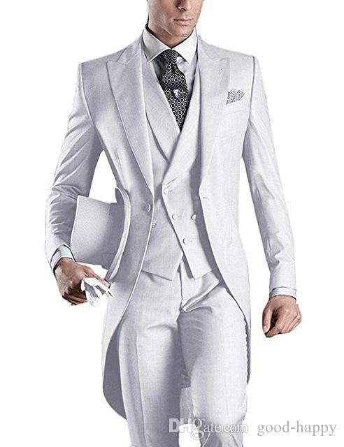 Custom Design Weiß / Schwarz / Grau / Hellgrau / Lila / Burgund / Blau Frack Männer Party Groomsmen Anzüge in Hochzeit Smoking Jacke + Pants + Tie + Vest