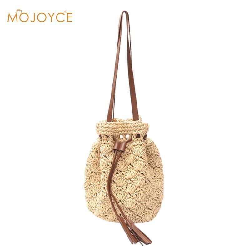 Women Summer Beach Bag Fashion Tassel Crochet Handbag Straw Bucket Bags For Women  Casual Shoulder Bag Large Capacity Totes 2018 Shoulder Bags For Women Bags  ... f1fda74e0e