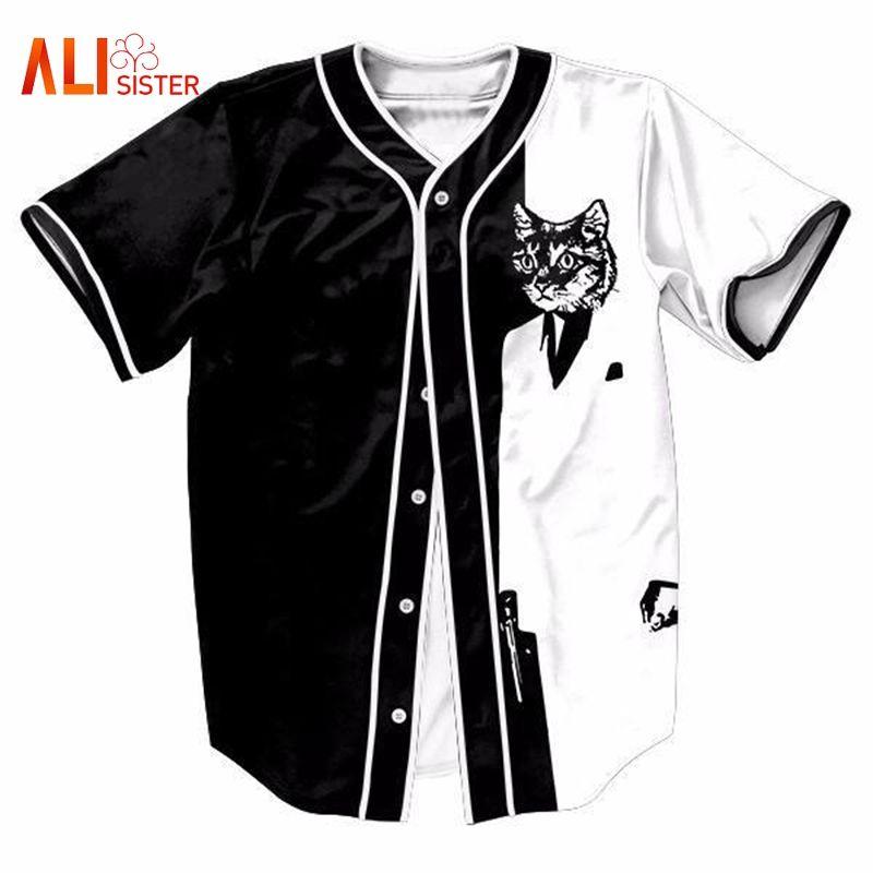 6ac029ca7 Printing Cat 3D Baseball Shirt Funny Design Men Women Casual V Neck Tee  Shirts 2018 New Arrival Fashion Harajuku Baseball Jersey Designer White Tee  Shirts ...