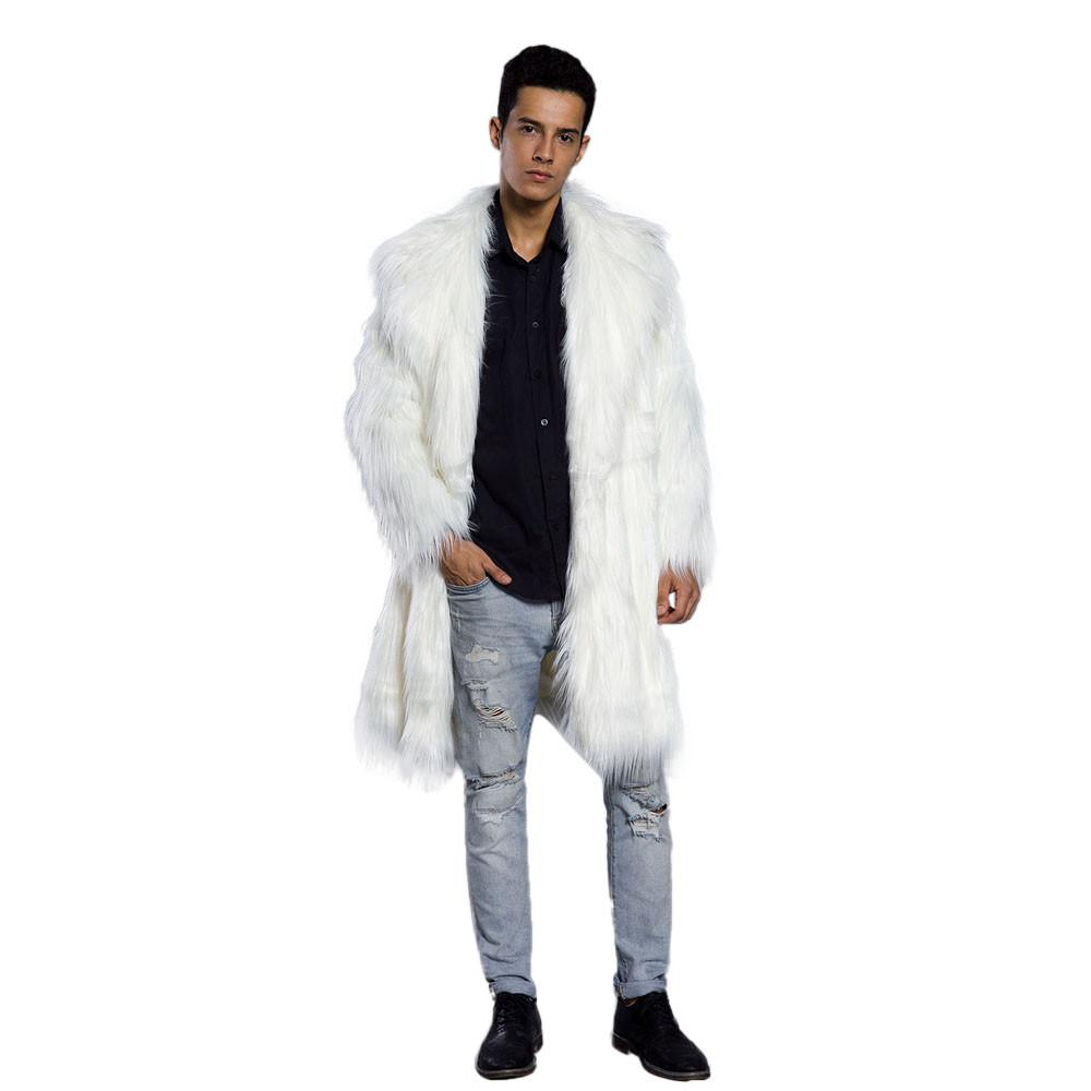 2756d300310 Mens Faux Fur Coats Jacket Fur Men Black White XXL Thick Fake Coat Men Long  Jacket Faux Leather Coats For