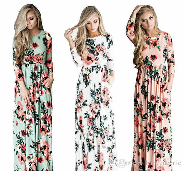 c1e63817f5c 2018 Summer Print Boho Beach Dress Fashion Floral Printed Women Long Dress  Sleeve Loose Maxi Dresses All White Maxi Dresses Off The Shoulder Summer  Dress ...
