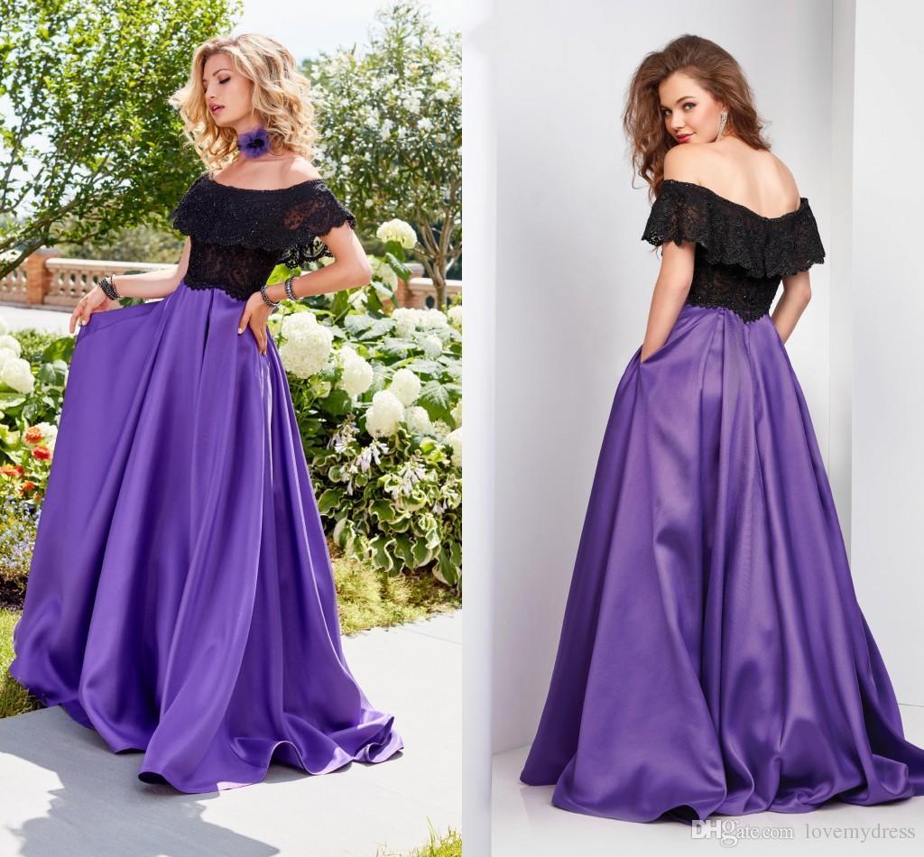 Contemporáneo Vestido De Fiesta Púrpura Y Negro Festooning - Vestido ...