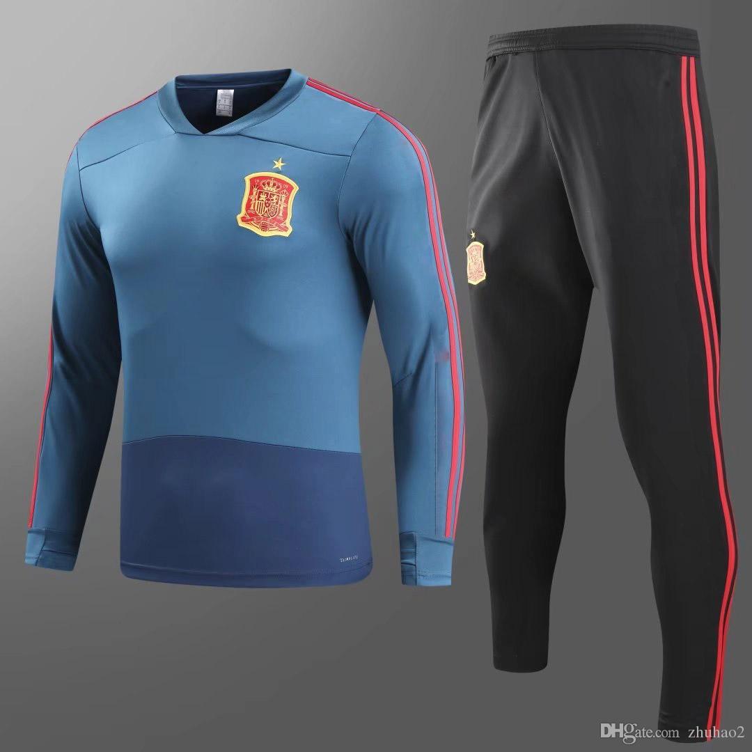 2019 2018 New Spain Tracksuit Morata A.INIESTA FABREGAS RAMOS DIEGO ISCO  Camiseta Training Suit Men S Football Jackets KitS XXXL From Zhuhao2 e1b3004cd