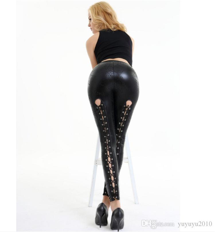 492647bb6c09 Großhandel Frauen Schwarze Hose Skinny Lace Up Pantalon Bleistift Sexy  Leggings Legins Punk Rock Weibliche Gothic Lederhose YWOM9304 Von  Yuyuyu2010, ...