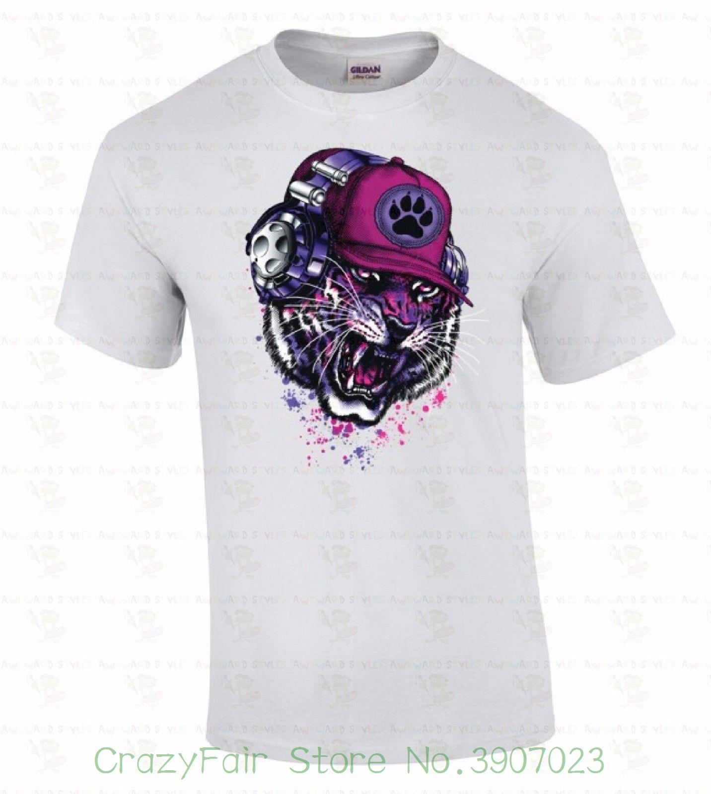 With Urban Hip T Neon Party Rave Headphones Hop Shirt Tiger Animal Dj Print Men NO0nwPk8X