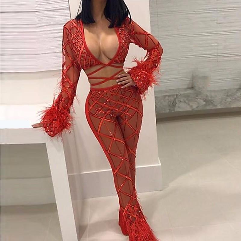 Feditch 2018 Spring New Long Sleeve Women Jumpsuit Clubwear Fashion Sequin Jumpsuit Womens Rompers Pants Skinny Jumpsuit Female