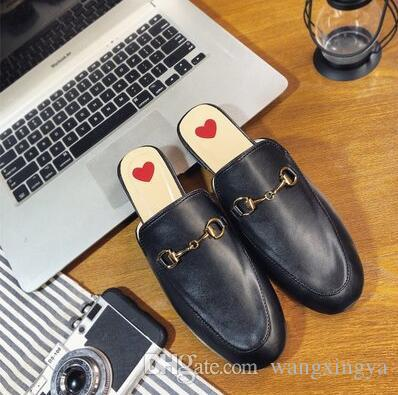 cb3d23c52cc122 The Slippers Women Genuine Leather Mules Flat Mules Shoes Metal ...