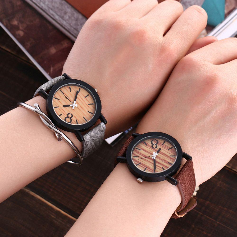 f9d33e7f7b5 Compre Amantes De Design De Bambu Cor De Madeira Senhoras Relógio De Pulso  De Quartzo Artesanal De Madeira Relógios Para Homens Mulheres Como Presente  ...