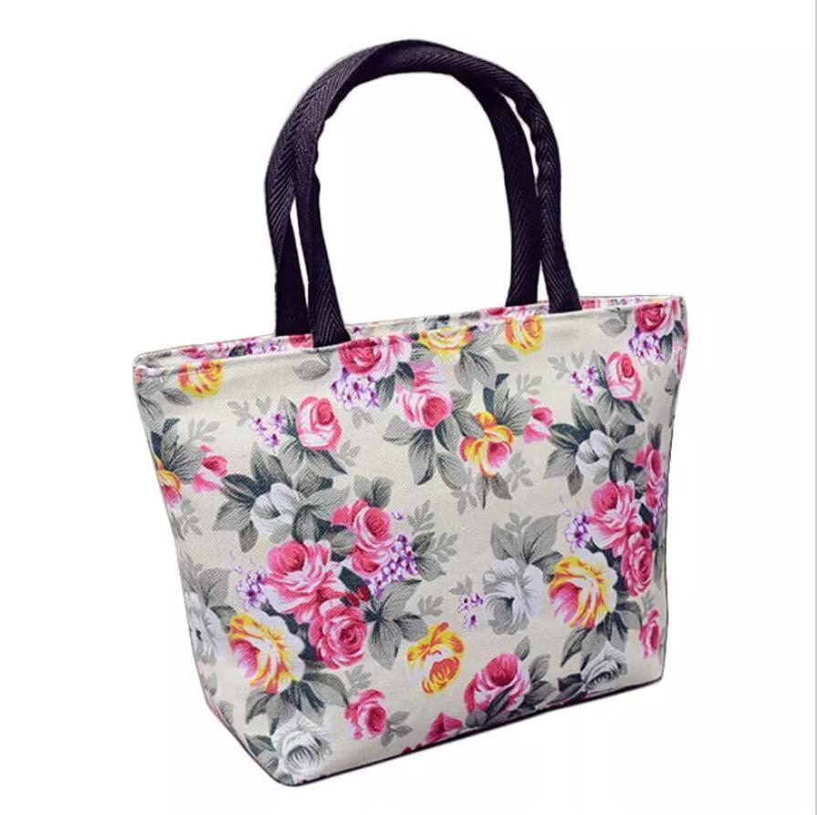 Femmes Motif Floral Design Mode Toile Acheter Durable Sac Main À O0qnS4