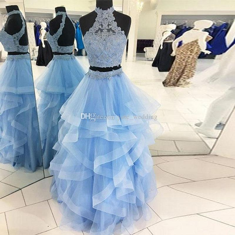 Light Sky Blue Two Piece Prom Dresses High Neck Lace Tulle Tiered Tulle Ball Gown Quinceanera Dresses Backless Champagne Sweet 16 Gown