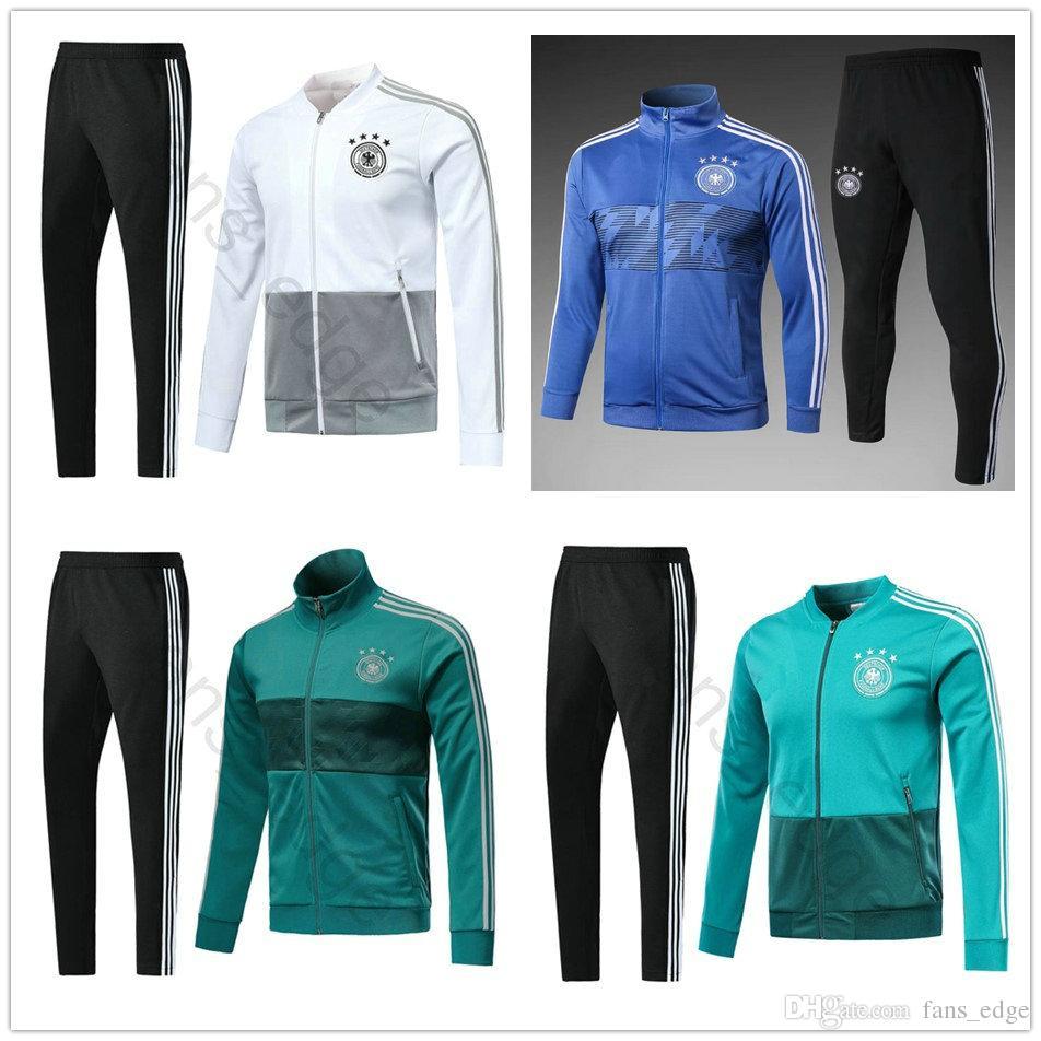 Acheter 2018 Coupe Du Monde Allemagne Football Veste Maison Whie Vert  Football Suit Suit Kit Survêtement Chandal Ensemble Sportswear Longue  Skinny Pant De ... 2fd66d4bd3b7